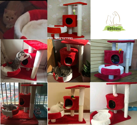 red white medium size cat tree ddhouse online pet supplies