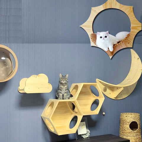 DDhouse is an one-stop shop provides Cat suspension bridges , wall-mounted walkways, Hanging beds, Scratch posts and platforms for your cats . T