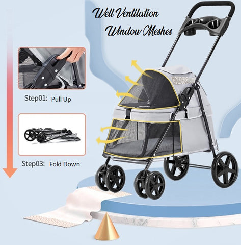Pet Stroller Pram Trolley for Dog or Cats Pet prams singapore Fast Delivery Light weight
