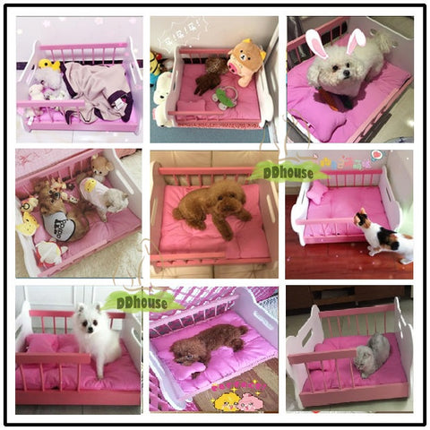 Wooden Style Pet Bed with cushion for Dogs Cats Solid wood Pet Beds For Dog and Cat in singapore