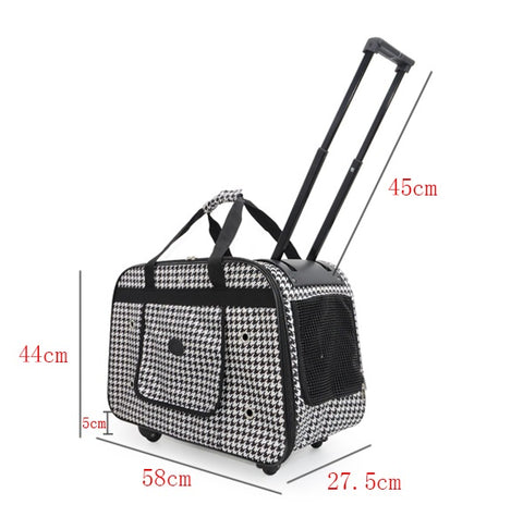 Rolling Pet Carrier with Smart Geometric Pattern Pet Strollers Pet Bag with Wheels Singapore