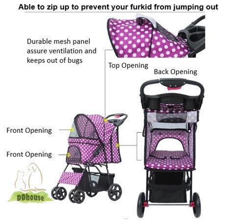 Pink Colored 4 wheel pet stroller