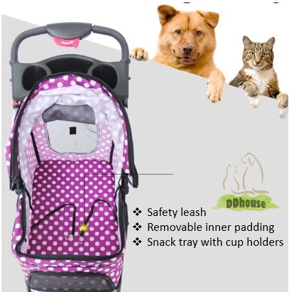 Pet Stroller Carrier Cat Dog Pram Red 3 Wheels Folding Travel Cage Mesh Cover with Cup Holder Tray