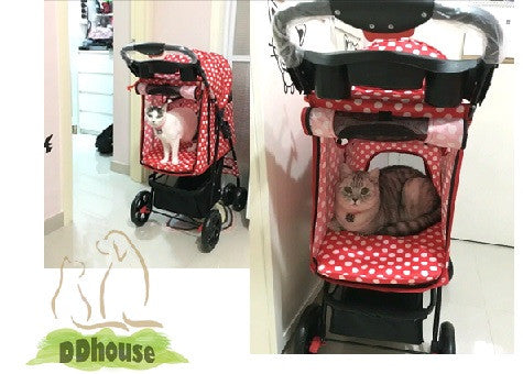 4 wheeler red Polka Dot Pet Stroller - DDhouse Online Pet Supplies