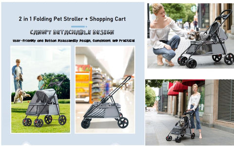 4 Wheels Light Weight Pet Stroller Cat Pram Dog Cart Travel Carrier Foldable Pushchair