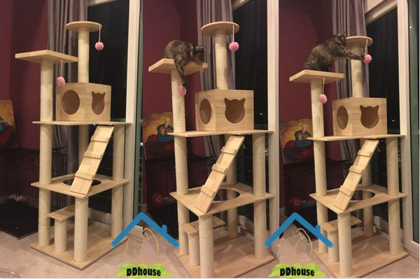 Extra Large 185m Wooden Cat Tree Cat Climbers Solid Wood Cat Climbers