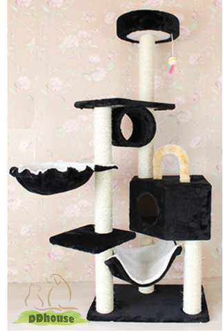 Black 5 tier cat playhouse for kitten and cat