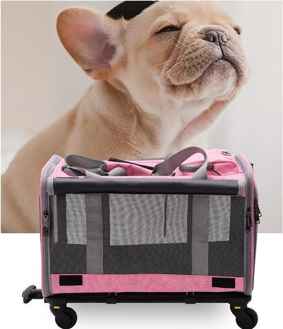 ortable Cat Carrier Backpack with Wheel Breathable Airline Approved Pet Travel Rolling Trolley Backpack for Small Dogs Cats Rabbit,