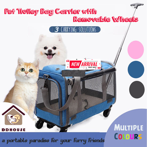 Cat & Dog Luggage Bag Stroller Trolley Carrier Dog Pet Carrier Cart Rolling Wheel Pet Trolley Case Folding Disassembly Pet Cat Bag Multi-pet Trolley Case