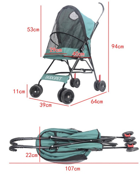 Umbrella Light Weight Four Wheel Pet Stroller, for Cat, Dog and More, Foldable Carrier Strolling Cart, Multiple Colors