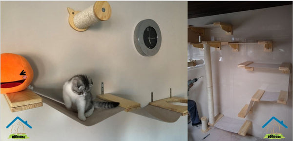 DDhouse unique kitty playgrounds include scratching posts made from pine wood, wall-mounted walkways, hammocks and suspension bridges.