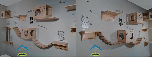 Cat Wall Shelves Roped Bridge Catastrophic Creations