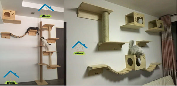 he cat wall furniture is manufactured utilizing the very best materials to guarantee your pet's safety and can be organized into numerous various obstacle courses.