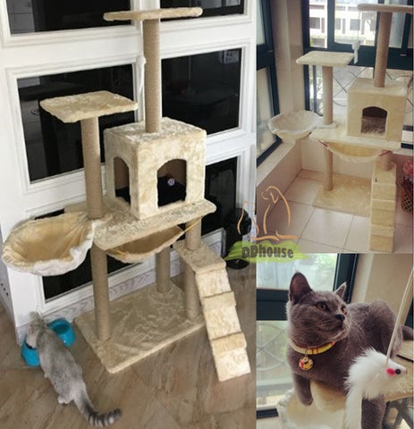 Misty White classic design cat tree with side hammock bowl