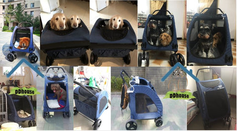 double wide dog stroller Pet strollers are used for a variety of reasons. They help avoid stress on your pet's body if they are having trouble walking due to joint pain, arthritis, or recent  Surgery