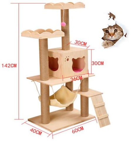 Solid Wood Cat Tree With Boarder Top Platform Singapore Free Delivery