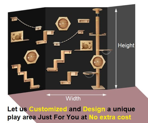 Let us customized and design a unique wall mounted cat playing area just for you. Singapore Best Cat furniture Solid wood Wall mounted furniture for cats