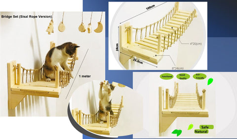 cat bridge is very easy to fix to the wall with screws  Large Wall Mounted Cat Shelf Play Platform With Bed - Solid Wood Cat Sleeper Shelf - Wooden Cat Furniture Collection  Wall Mounted Cat Bridge Lounge Platform