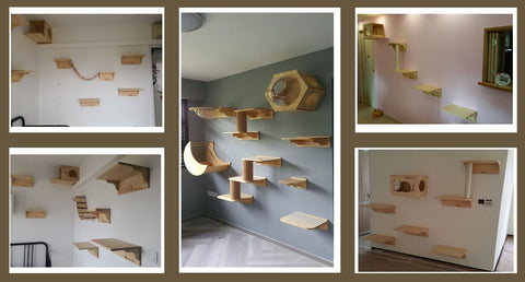 Wall-mounted cat jumping platform singapore pine wood cat furniture Free Delivery Singapore local seller