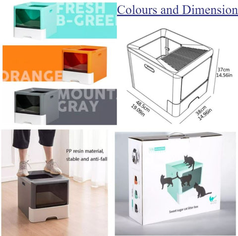 This trendy cat litter box that beats traditional litter box by miles in both the looks and functionality departments. It is a stylish enclosed cat litter that contains the odor and prevents tracking