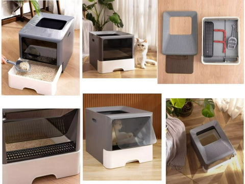 the cat litter tray can be fully pull out, easy to clean and change the pet litter. You can keep all the boxes neat, tidy and odor free.