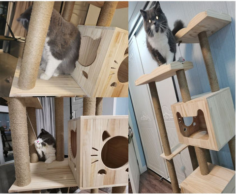 Extra Large 168m Wooden Cat Tree Cat Climbers Solid Wood Cat Climbers
