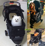 Jet Black 3 Wheeled Travel-Furr Pet Pram
