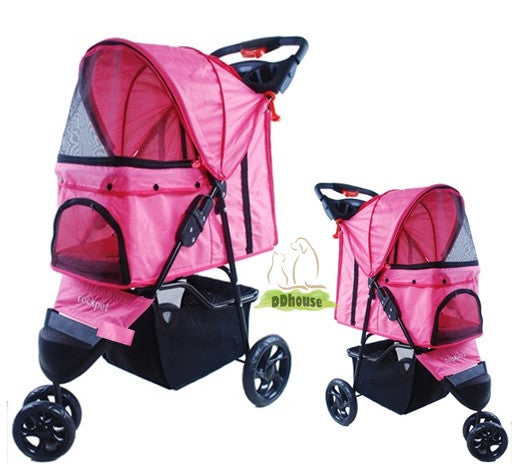 Fuschia-licious Foldable Pink in 3 Cycled Pet Carriage Pram