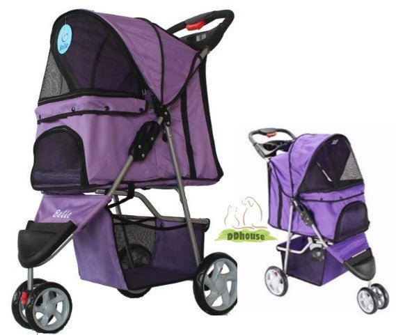 Purple Grape Wine Tri-Wheeled Pet Traveller Pram
