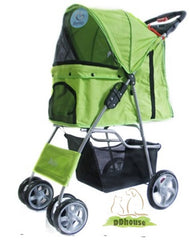 Lime Green With White Polka Dot 4 wheeler Pet Stroller
