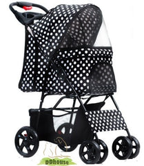 Retro-Style Black & White Polka Dot Pet Pram