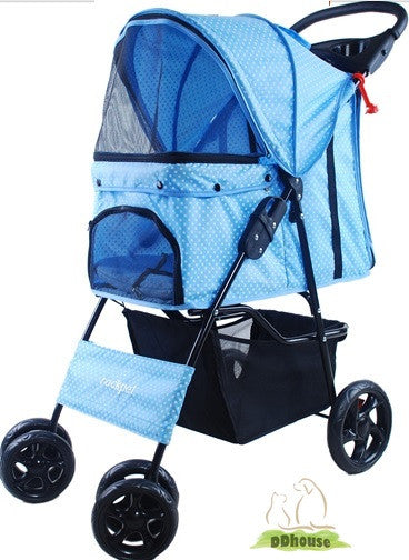 Blue Jazzed with dots SUV Buggy 4 Pet Pram