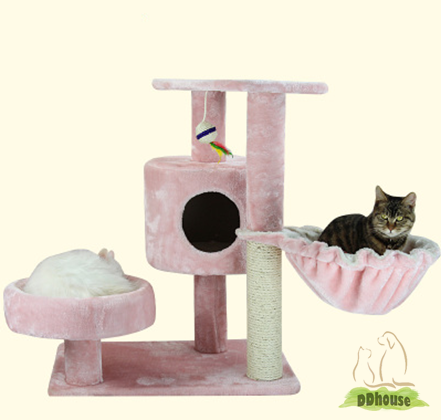 Baby Pink Cat Condo With Side Bowl