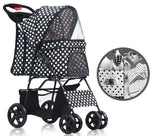 Polka Dot Black 4 Wheel Pet Stroller - DDhouse Singapore Online Pet Supplies and Pet Products - 1
