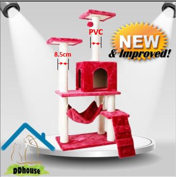 Bright Red Premium Cat Tree PVC upgrade Extra stability