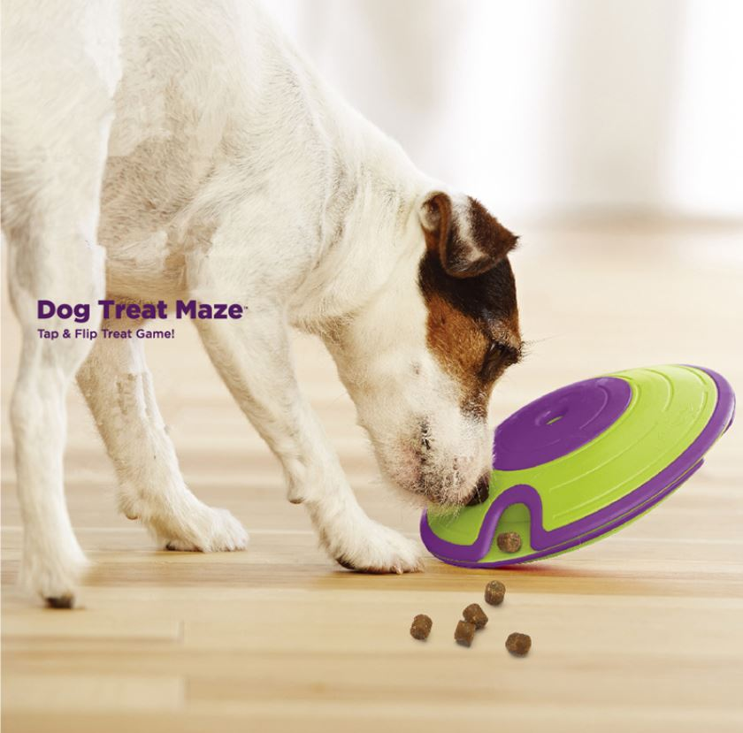 treat-dispensing Nina Ottosson Treat Maze toy to keep them entertained all day long!