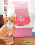 Open Closed Cat Litter Box