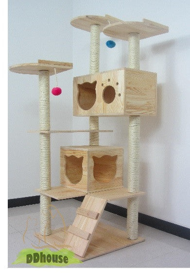 PVC Pole High Quality Solid Wood Triple Top Cat House