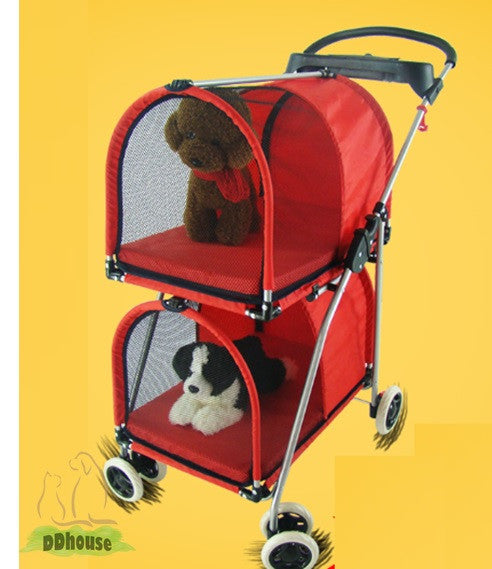 2 Tier 4 wheel comfortable pet pram Pet stroller - DDhouse Singapore Online Pet Supplies and Pet Products - 1