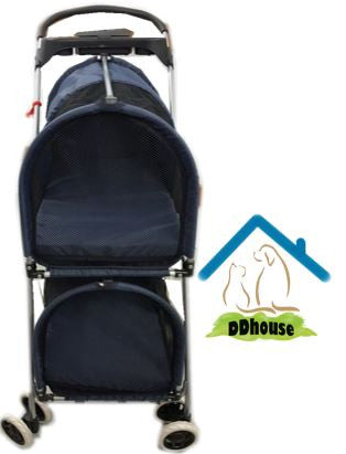 Dark Blue 2 Layer Spacious Pet Stroller