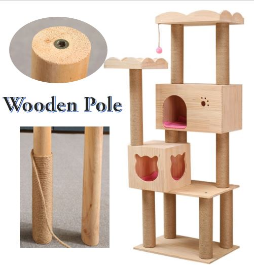 Premium Wooden Pole Pine Wood Cat House with Boarders