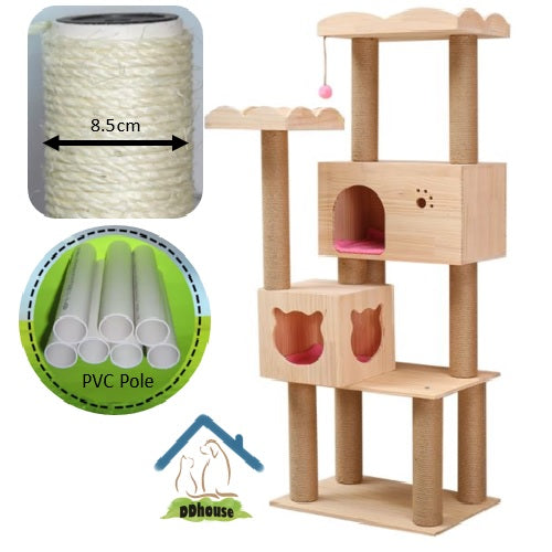Premium PVC Pole Pine Wood Cat House - Big Platform with Boarders