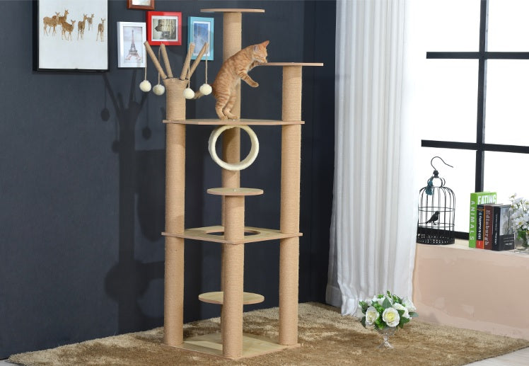 Mid-Height Furniture Wood Cat Tree With hanging Balls