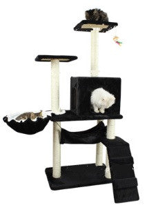 Black Colour Cat Condo Cat Tree w/ Hammock Bowl - DDhouse Singapore Online Pet Supplies and Pet Products