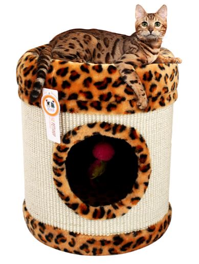 Leopard Print Cat Scratching Tube w/ Resting Bed