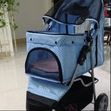 Polka Dot Blue 3 wheel Pet Pram Pet Stroller - DDhouse Singapore Online Pet Supplies and Pet Products - 6