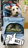 Polka Dot Blue 3 wheel Pet Pram Pet Stroller - DDhouse Singapore Online Pet Supplies and Pet Products - 7