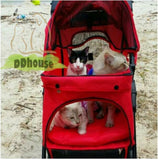 4 Wheel Red Pet Pram Pet Stroller - DDhouse Singapore Online Pet Supplies and Pet Products - 2