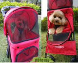 4 Wheel Red Pet Pram Pet Stroller - DDhouse Singapore Online Pet Supplies and Pet Products - 3