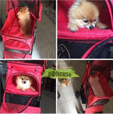 4 Wheel Red Pet Pram Pet Stroller - DDhouse Singapore Online Pet Supplies and Pet Products - 5